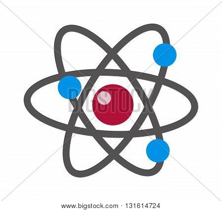 Atom icon modern minimal flat design style. Vector illustration atom icon science symbol and atom icon chemistry technology molecular power. Physics science atom icon nucleus particle.
