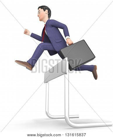 Win Businessman Represents Climb Over And Blocked 3D Rendering