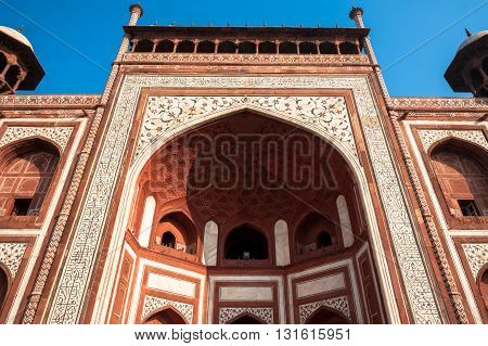Taj Mahal complex entrance in Agra, India