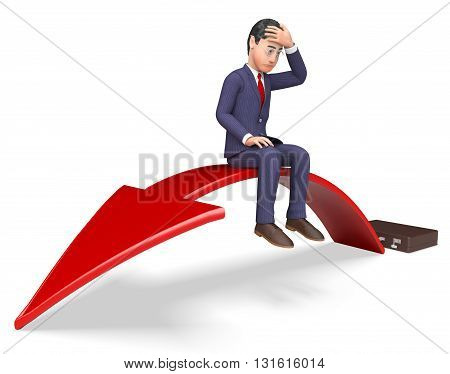 Businessman Arrow Indicates Lack Of Success And Arrows 3D Rendering