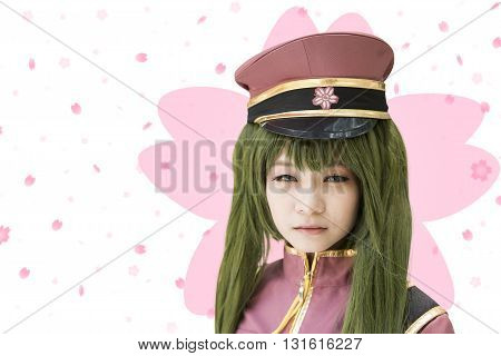 Japan anime cosplay , small cosplay in the picture , on abstract background