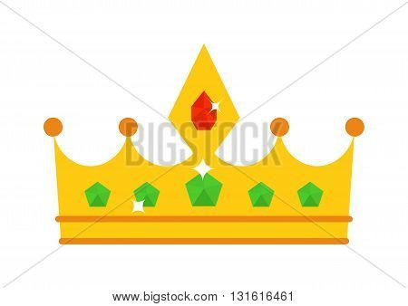 Vector illustration golden crown with red gemstone isolated on white. Golden crown icon and success authority golden crown. Golden crown majestic decoration and kingdom golden crown jewelry.