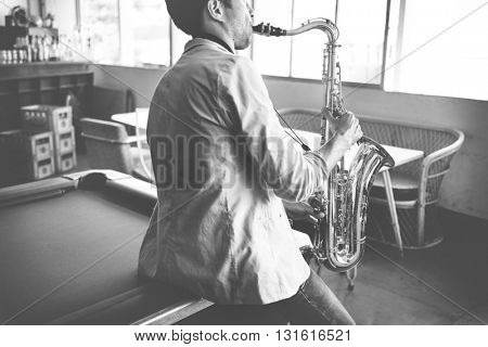 Jazzman Musical Artist Playing Saxophone Concept
