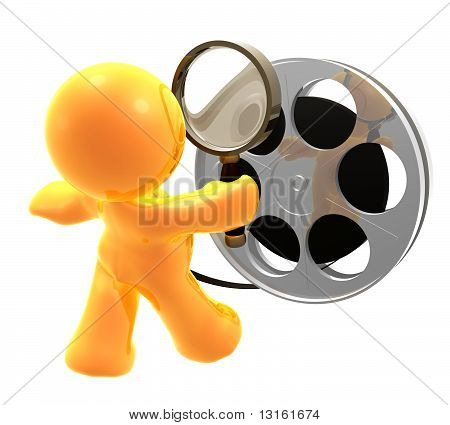 Icon figure censoring a movie reel roll
