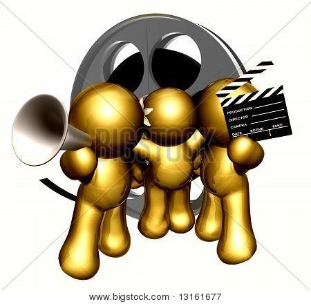 Team of movie maker icon figure
