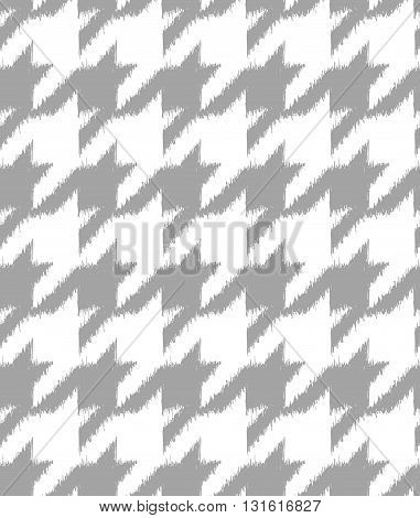 Hand drawn ikat style houndstooth seamless pattern design repeating vector background for all web and print purposes