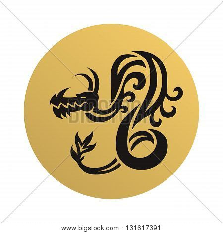 Original dragon face head. Black dragon face and gold dragon face vector illustration. Dragon face animal art chinese character and tattoo dragon face. Creature design drawing asian dragon face.