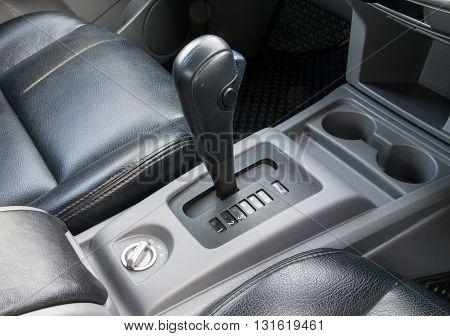 Car interior. Automatic transmission gear shift.. interior, car, stick, move,