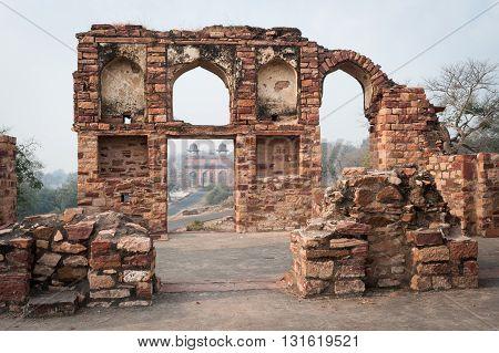 Agra gate view through door ruins Fatehpur Sikri India