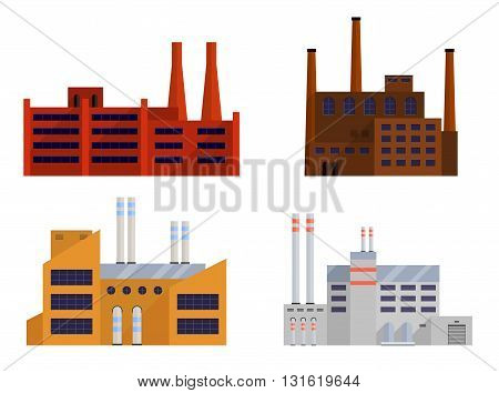 Factory set isolated on white background. Factory icon in the flat style. Industrial factory building. Factory concept. Decorative factory icon. Vector illustration.