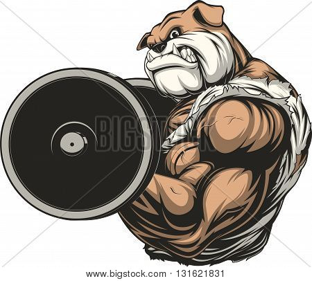 Vector illustration a strong athlete dog bulldog performs an exercise with a barbell biceps