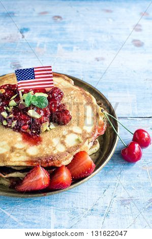American Pancakes With Fruits