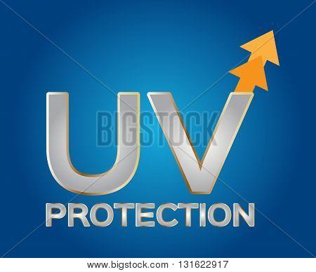 uv protection logo , silver uv on blue background
