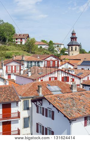 Rooftops Of Typical Buildings Of Ciboure In Aquitaine. France