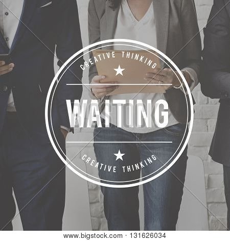 Waiting Office Worker Graphic Concept