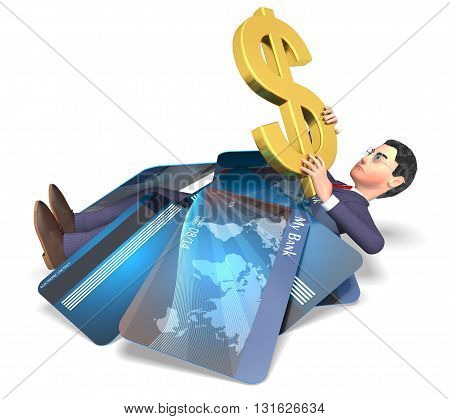 Credit Card Represents United States And Bankrupt 3D Rendering