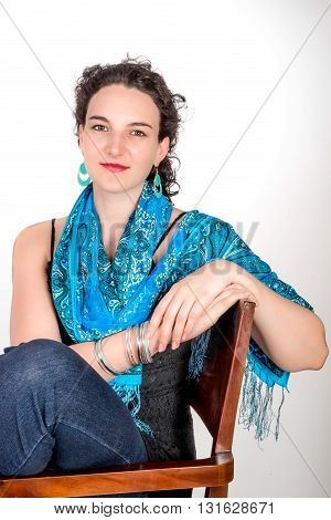Young Woman With Blue Shawl