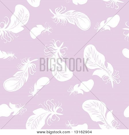 Seamless background with feathers. White and pink vector illustration. poster
