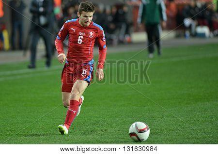 Prague 28/03/2015 _ Vaclav Pilar of Czech Republic.. Match of EURO 2016 qualification group A Czech Republic - Latvia 1:1 0:1. Goals 90' Pilař - 30' Višnakovs.
