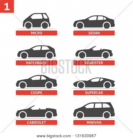 Car Type and Model Objects icons Set automobile. Vector black illustration isolated on white background with shadow. Variants of car body silhouette for web.