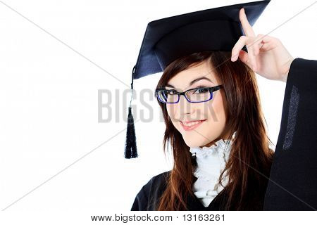Educational theme: graduating student girl in an academic gown. Isolated over white background. poster