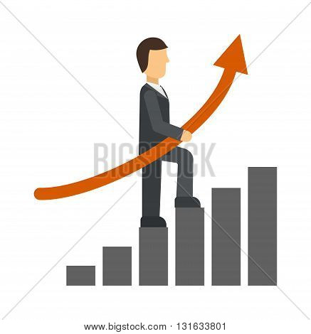 Business man drawing growth chart and business growth chart arrow. Growth chart vector concept and diagram arrow finance progress growth chart. Graphic up stock investment infographic growth chart.