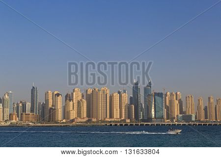 view on cityscape of Dubai from Jumeirah Palm