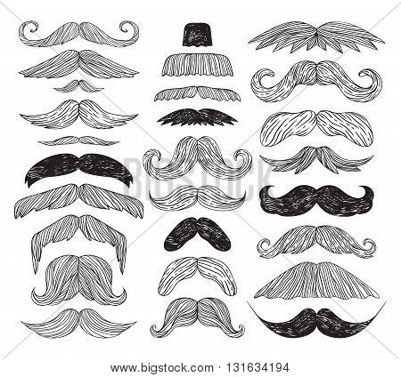 Huge set of black silhouette vector mustache. Mustache black hair and man mustache hipster set. Mustache retro curly black silhouette collection beard mustache. Mustache barber silhouette hairstyle