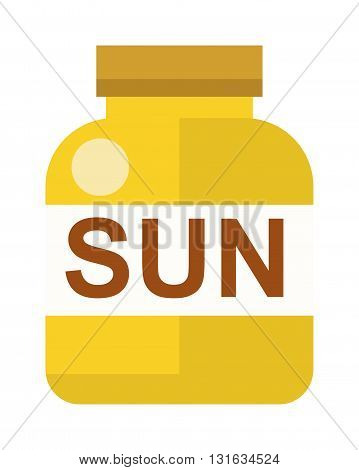 Sun vitamins orange capsule with vitamin D on white background. Flat design sun vitamins and sun vitamins health care pills. Sun vitamins medical, diet medicine design nutrition natural pill fruit.