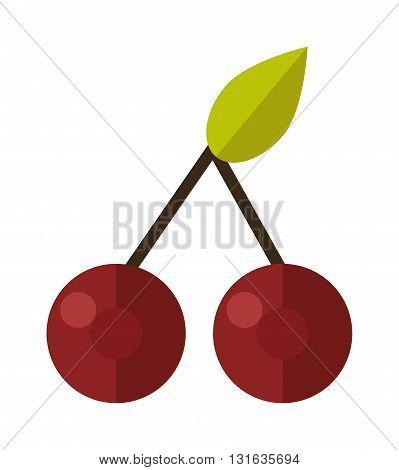 Cherry isolated on white background and fresh red cherry fruit. Cherry red berry and raw vegetarian bright organic cherry. Ripe fresh dessert macro nature cherry healthy freshness delicious fruit.