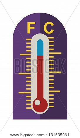 Thermometer icon vector illustration and thermometer symbol. Indicator graphic thermometer and degree instrument scale season thermometer. Weather meteorology thermometer measure glass meter tool.