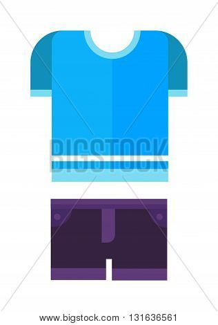 Purple shorts and blue shirt, boys wear, baby clothes isolated on the white background. Flat vector baby clothes childrens wear, summer clothes, baby clothes and fabric baby clothes.
