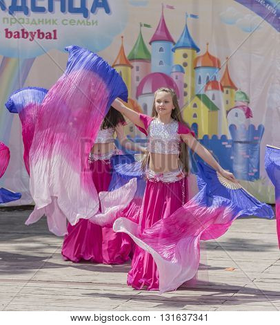 Rostov-on-Don Russia- May 22, 2016: Performance of children dance ensemble of babybal in the park named after V. Cherevichkin
