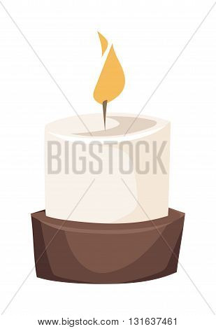 Burning wax candle in a stand flat vector illustration. Cartoon candle on a saucer. Traditional holidays candles. Candle isolated vector.