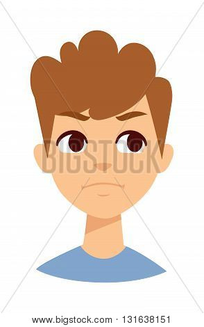 Boy makes angry face. Angry boy face vector and cute little angry boy. Cartoon character angry boy emotion face and angry boy sadness innocence bad mood. Cute kid expression emotion face.