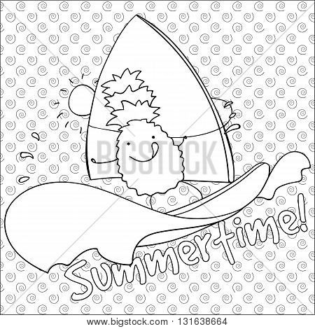 Cute pineapple windsurfing summertime coloring book page vector illustration with swirl on background.