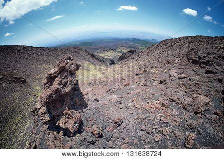 Etna Park lava channel one of eruptive mouths on 1605, Sicily