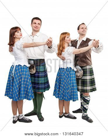 Two Pair Of Dancers Of Scottish Dance