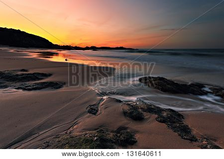 A calm moment at Sunset at Saint Lunaire