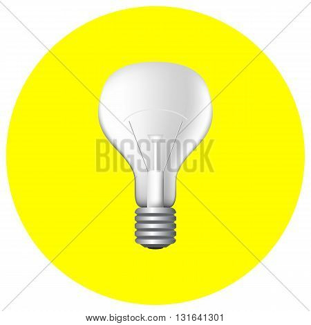 Realistic filament light bulb on yellow vector illustration