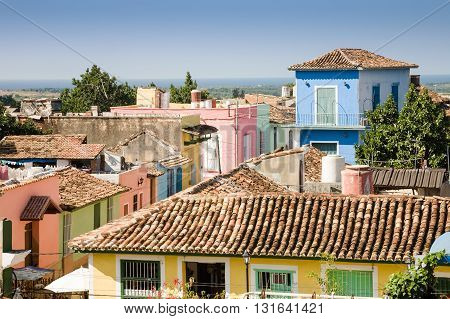 Some pastel colored houses in the old colonial town of Trinidad in Cuba