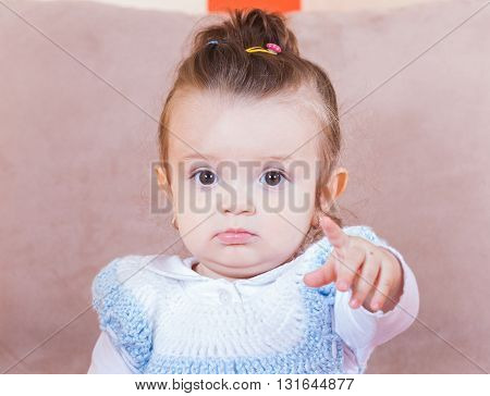 Portrait photo of an adorable baby girl