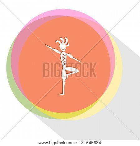 ethnic little man as yogi. Vector icon.