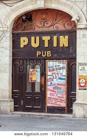 Jerusalem, Israel - February 15, 2013: Advertising Of Concerts On The Doors Of Putin Pub I