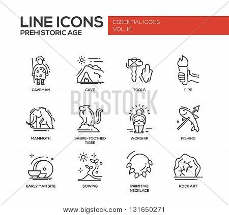 Set of modern vector plain line design icons and pictograms of pregistoric age life. Caveman, cave, tools, fire, fire, mammoth, sabre-toothed tiger, worship, fishing, early man site, sowing, rock art