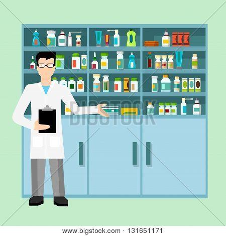 Pharmacist drug store workplace Flat web vector illustration