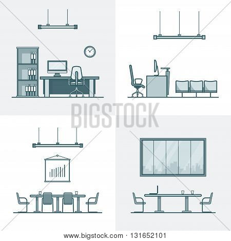 Office meeting conference room cabinet table chair interior indoor set. Linear stroke outline flat style vector icons. Monochrome icon collection.