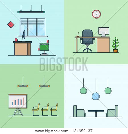 Office meeting conference room table chair armchair night dance club interior indoor set. Linear stroke outline flat style vector icons. Color icon collection.