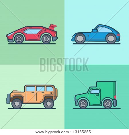 Car automobile sportscar supercar roadster jeep van cool transport set. Linear stroke outline flat style vector icons. Color outlined icon collection.