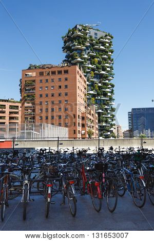Milan Italy - May 04 2016: Parking of the bicycles with Bosco Verticale on the background